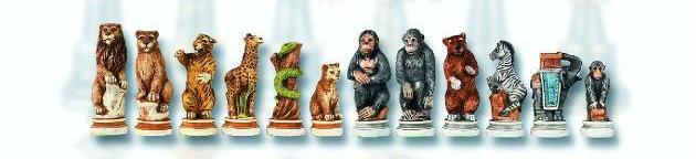 Collector's Edition Animal Kingdom Oxo Teak Hand Painted Italian Chessmen Set.