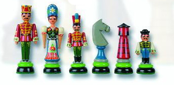 Huszar Solid Maple Hand Painted Chess Pieces.