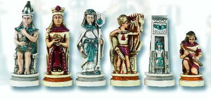 Collector's Edition Cleopatra The Queen of The Nile Oxo Teak Hand Painted Chessmen Set.