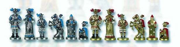 The Imperial, Hand Painted Metal Chessmen Set.