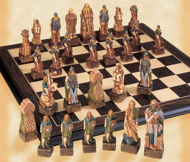 Hand Decorated Collector's Edition Celtic Chess Pieces