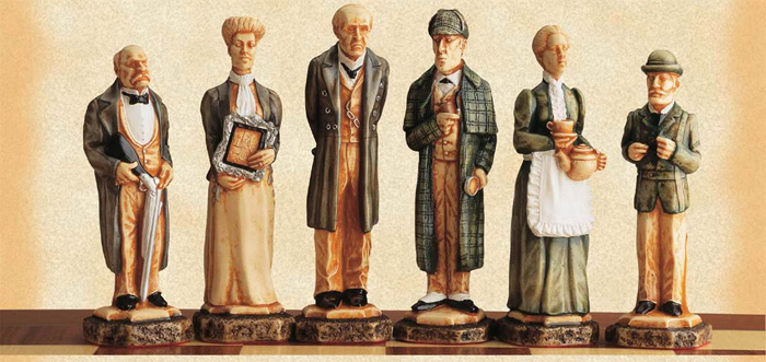 Sherlock Holmes Polyresin Hand Painted Chess Pieces.