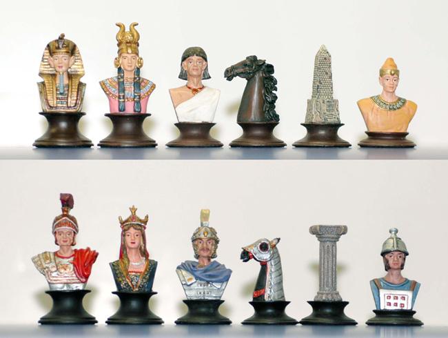 Egyptian White Metal Chessmen Set.