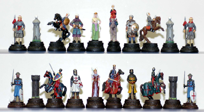 The Crusades White Metal Chessmen Set