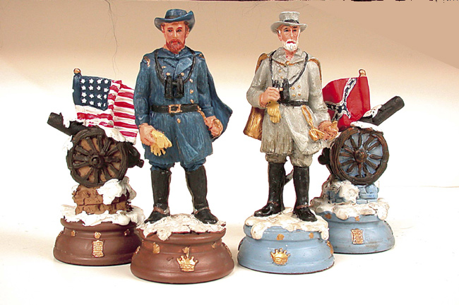 Polyresin Civil War Chessmen Set.
