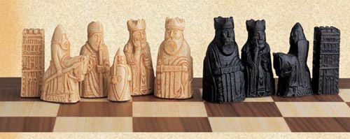 Miniature Isle of Lewis Chessmen Set.
