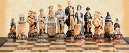 American Civil War Polyresin Hand Painted Chessmen Set.