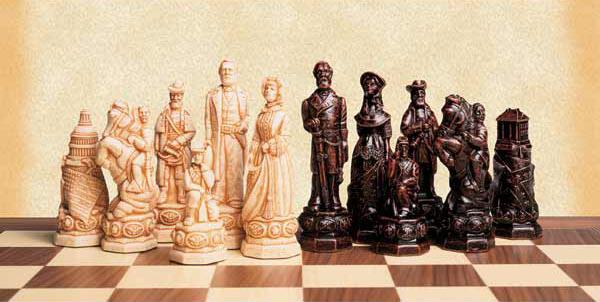 Polyresin American Civil War Chessmen Set.