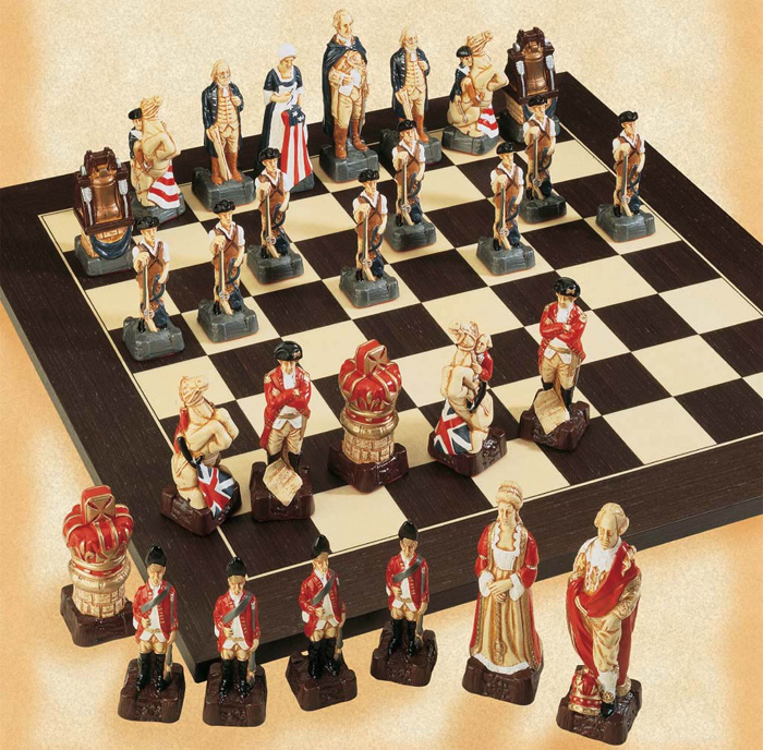 Polyresin American Revolutionary Hand Painted Chess Set.