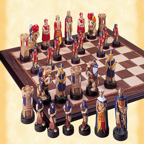 Battle of Bannockburn Handpainted Chessmen Set.