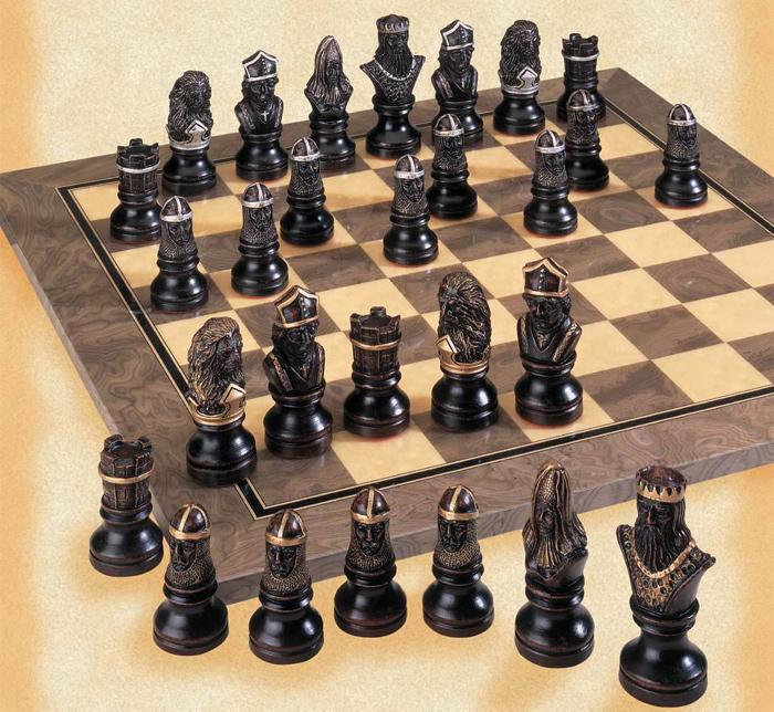 Richard the Lionheart Handpainted Chessmen Set.