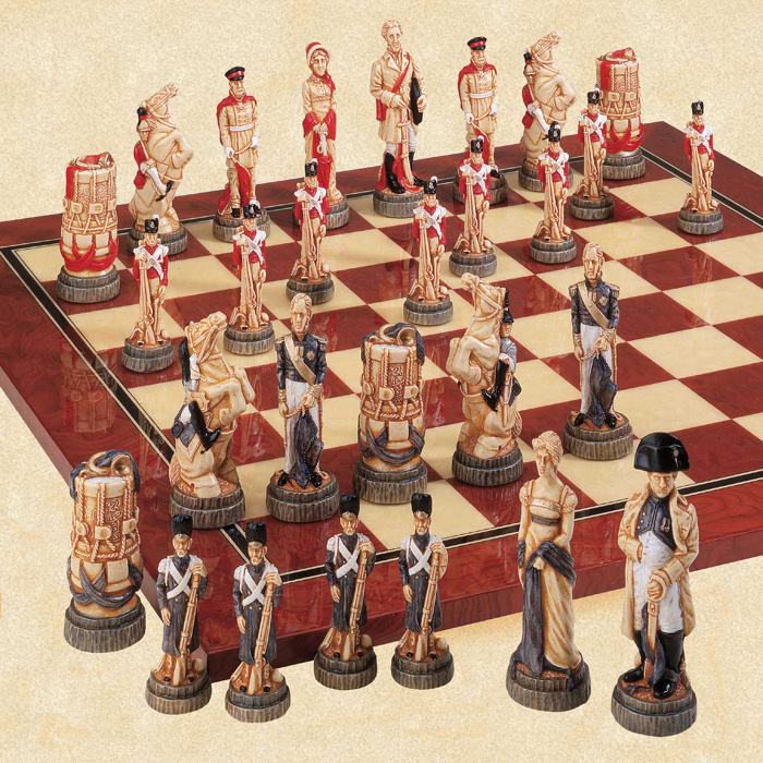 The Battle of Waterloo Handpainted Chessmen Set.
