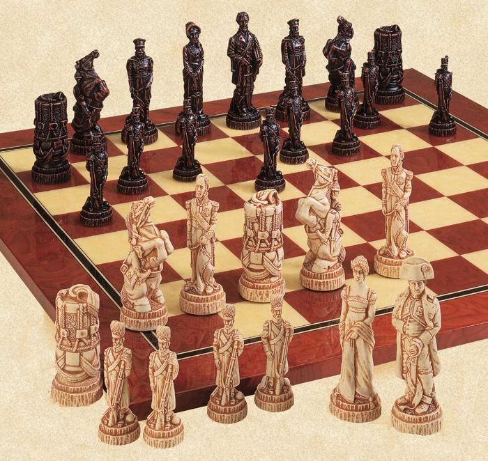 The Battle of Waterloo Polyresin Chessmen Set.