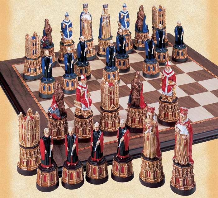 The Canterbury Cathedral Hanpainted Chessmen Set.