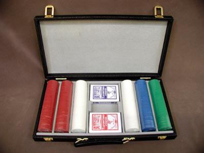Texas Hold'em Poker Tournament Set -  300 Chips in Black Attache With Cards.