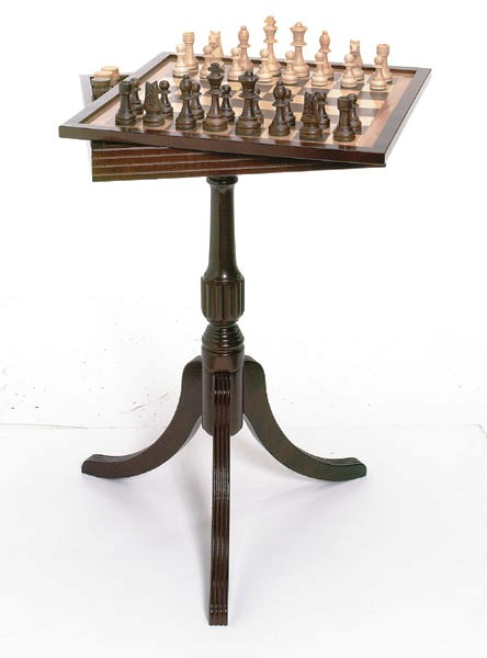 Tournament Pedestal Chess & Checkers Table With Interior Drawer
