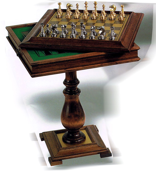Pedestal Chess, Checkers & Backgammon Game Table with Antique Finish.