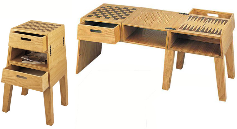 4-in-1 Game Table Set, Including Chess, Chinese Checkers, Backgammon and Checkers.
