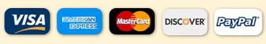 We accept Visa, American Express, MasterCard, and Discover